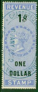STRAITS SETTLEMENTS 1874 $1.00 QV Revenue Bft 10 VFU