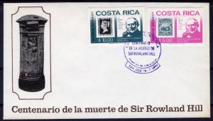 Costa Rica 1979 Sc#C752/C753 Stamps on Stamps Sir Rowland Hill Set (2) FDC