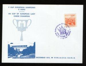 YUGOSLAVIA-POSTCARD-5th CUP OF EUROPEAN LADY CHESS CHAMPION-1973.