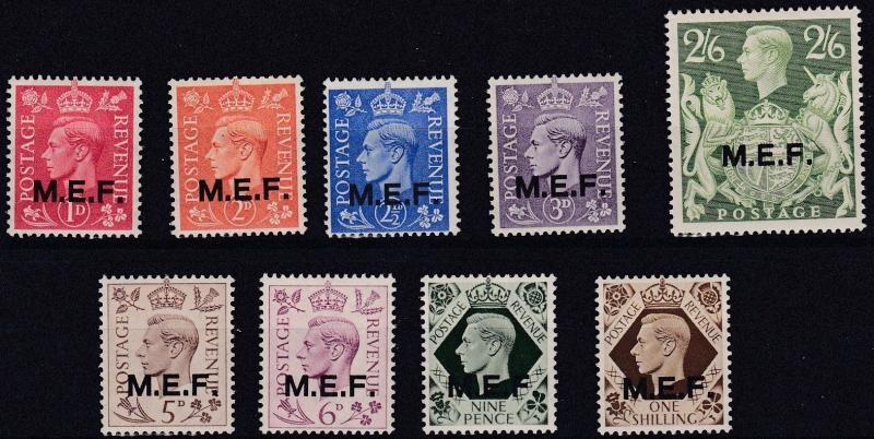 MIDDLE EAST FORCES  1943 - 47  S G M11 - M19  VARIOUS VALUES TO 2/6 MH