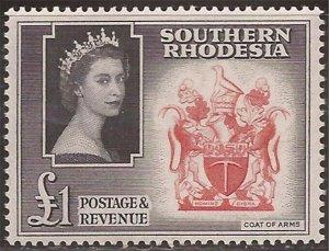 Southern Rhodesia - 1953 £1 Queen Elizabeth & Arms - Stamp MNH - Scott #94