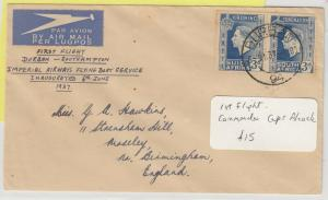 South Africa 1937 First Flight Cover To England Capt. Alcock J5354