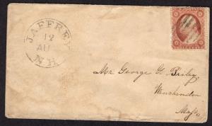 $US 19th Century Cover SC#26 Jaffrey, NH DPO 8/12 CDS, No Contents