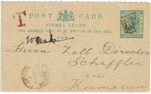 Sierra Leone 1894 B31 killer in red on reply card to CAMEROUN, T postage due