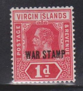 BRITISH VIRGIN ISLANDS Scott # MR1 MH - KGV War Stamp Overprint