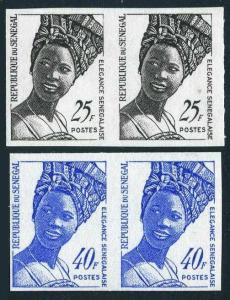 Senegal 371-372 imperf pairs,MNH.Michel 501B-502B. Senegalese fashion,1972.