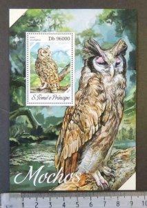 St Thomas 2013 owls birds of prey s/sheet mnh