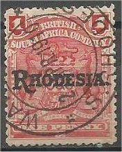 RHODESIA, 1909, used 1p, Overprinted, Scott 83