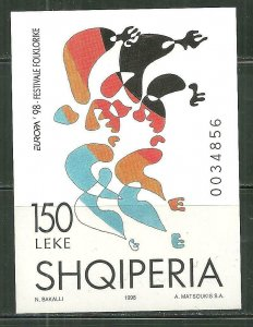 Albania MNH S/S 2560 Europa Folklore Festival 1998 SCV 4.50