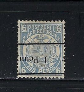 TRANSVAAL- SCOTT #145A 1P ON 6P (BLUE) 1893 BLACK SURCHARGE- MINT LIGHT HINGED