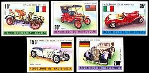 Upper Volta 362-364,C206-7, MNH imperf., Oldtimer Automobiles