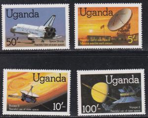 Uganda # 337-340 & 341, Peaceful Use of Outer Space, NH, 1/2 cat.