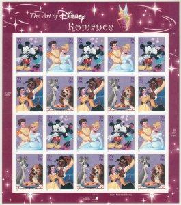 2006 U.S 39¢ Art of Disney Romance complete sheet of 20 MNH Sc# 4025 / 4028