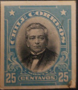 J) 1910 CHILE, MANUEL MONTT, AMERICAN BANK NOTE, DIE PROOF, IMPERFORATED