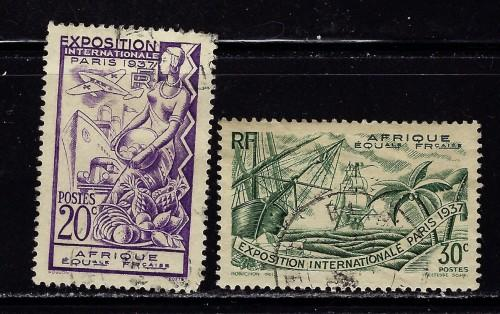 French Equatorial Africa 27-28 Used 1937 partial set