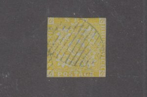 NEW BRUNSWICK # 2 6d OLIVE YELLOW IMPERF GRID CANCEL CAT VALUE $1600