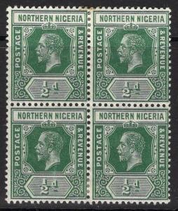 NORTHERN NIGERIA SG40 1912 ½d DEEP GREEN MTD MINT BLOCK OF 4