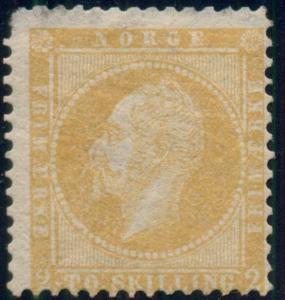 NORWAY #2, 2sk yellow, mint, thin top margin, Fine, Scarce, Scott $800.00