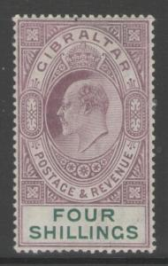 GIBRALTAR SG63 1908 4/= DEEP PURPLE & GREEN MTD MINT