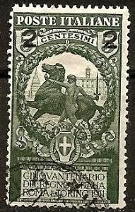 ITALY  126 USED 1913 2c on 5c dp grn  Italian States-Surch.