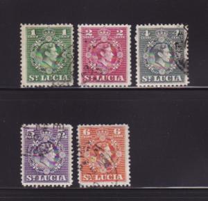 St Lucia 135-136, 138-140 U King George VI