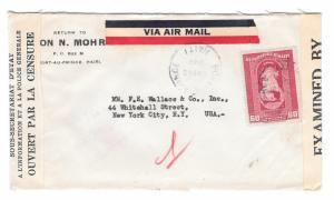 Haiti Double Censored Cover to US 1942 Censor Backstamp Sc C17