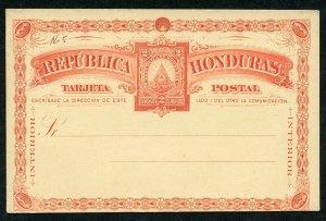 HONDURAS 1890 HG 5 MINT 2C POSTAL CARD RED ON YELLOW AS SHOWN