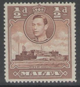 MALTA SG218a 1943 ½d RED-BROWN MTD MINT
