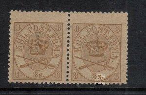 Denmark #14 Never Hinged Mint Pair