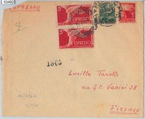 REPUBBLICA - Storia Postale: ESPRESSI + DEMOCRATICA su BUSTA da MILANO 1946