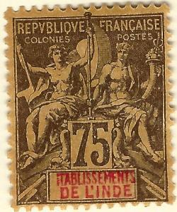 French India SC #18 F-VF Mint OG hr.....Exotic area of French Colonies!