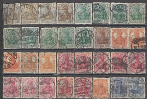 COLLECTION LOT OF #1191 GERMANY 32 GERMANIA STAMPS 1902+ CLEARANCE CV = $39