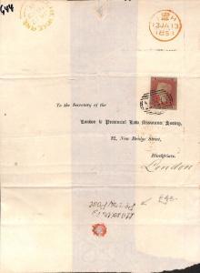 G44 1853 GB London Assurance Penny Post Cover {samwells-covers}PTS