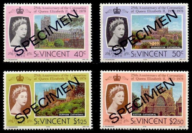 St. Vincent 1978 QEII 25th Anniv.  w/ SPECIMEN Ovpt (Scott # 397-400)