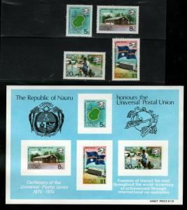 Nauru Sc #114 to 117, 117a Imperforate S/S - MNH - 1974 Centenary of the UPU
