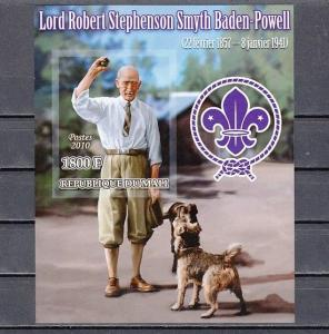 Mali, 2010 issue. Scout Baden Powell  & Dogs, IMPERF s/sheet.