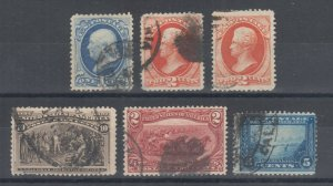 US Sc 156//399 used 1873-1913 issues, 6 different w/ small faults