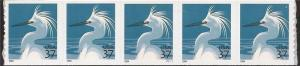 US Stamp - 2004 37c Snowy Egret - Pl Strip of 5 Stamps Perf 9 ½ #3829A