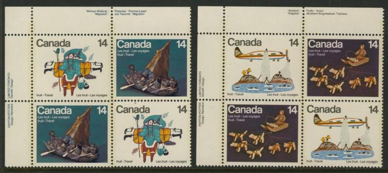 Canada 770a,72a TL Plate Blocks MNH Inuit Art, Travel, Aircraft, Dogs
