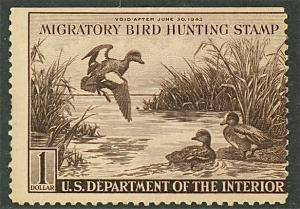 1942 US Federal Duck Stamp #RW9 Mint Never Hinged Average