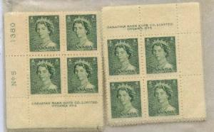 Canada - 1953 2c Green QE Karsh Plate Blocks mint #326