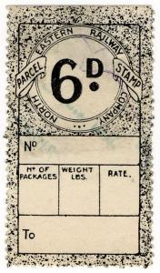 (I.B) North Eastern Railway : Parcel Stamp 6d