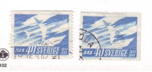 Sweden Sc 567-8 1961 SAS DC-8 plane stamps used