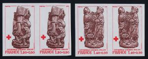 France B530-1 imperf pairs MNH Filling the Granaries, Grapes, Amiens Cathedral