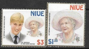 NIUE SG879/80 2000 100th BIRTHDAY OF THE QUEEN MOTHER  MNH