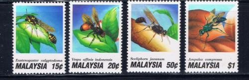 Malaysia 438-41 Hinged 1991 Insects set