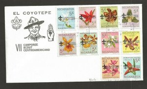 1965 Boy Scouts Nicaragua orchid flowers overprint Camporee FDC