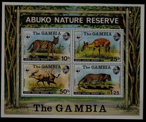 Gambia 344a MH s/s Animals/WWF-76 SCV125, stamps NH