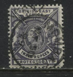 British East Africa QV 1898 3 rupees used