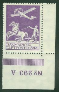 DENMARK #C2 15ore Airmail, Plate No. Single NH Scott $82.00+